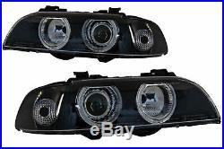 Angel Eyes Phares Pour BMW Série 5 E39 Sedan Touring 96-03 Noir Gris Reglaje