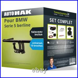 Pack Attelage pour BMW Serie 5 berline 95- Amovible et Faisceau uni 13 broches